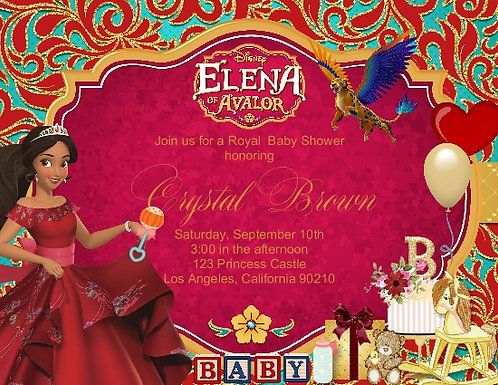 Princess Elena of Avalor Baby Shower Invitation