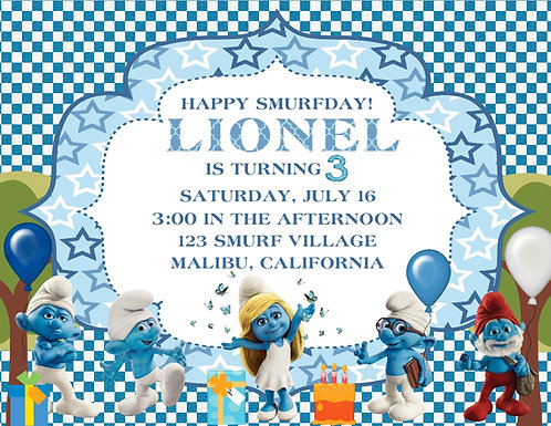 Smurf Birthday Party Invitation