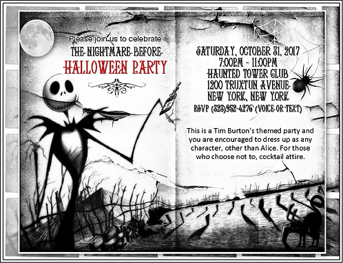 Nightmare Before Christmas Halloween Party and  Event Invitation