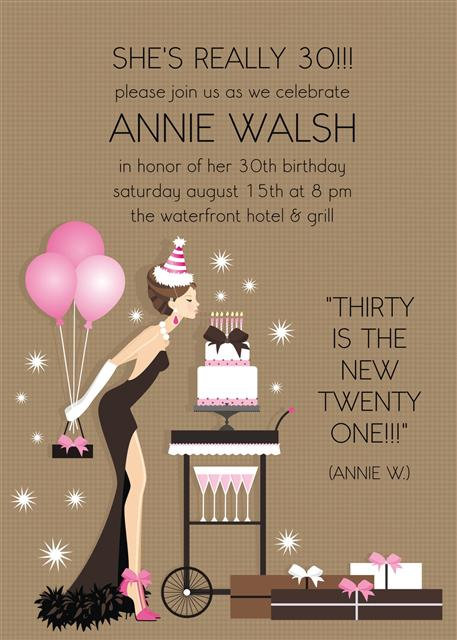 Brunette Birthday Diva Party and  Event Invitation