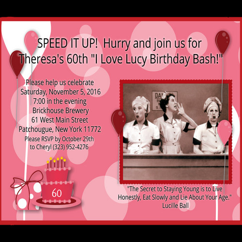 I Love Lucy Birthday Party And Event Invitation