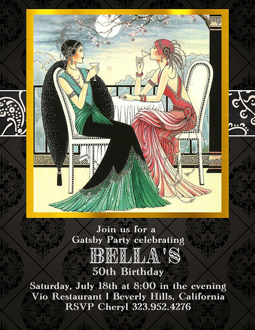 Gatsby Birthday Cockail Party and  Event Invitation (sold