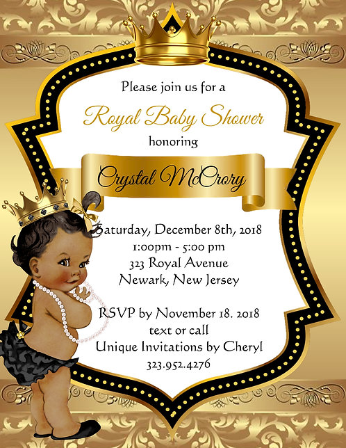 Golden Little Princess Baby Shower Invitations (sold in sets of 10)