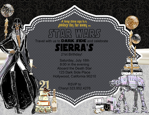Star Wars Beautiful Vader Birthday Party and  Event Invitation (sold