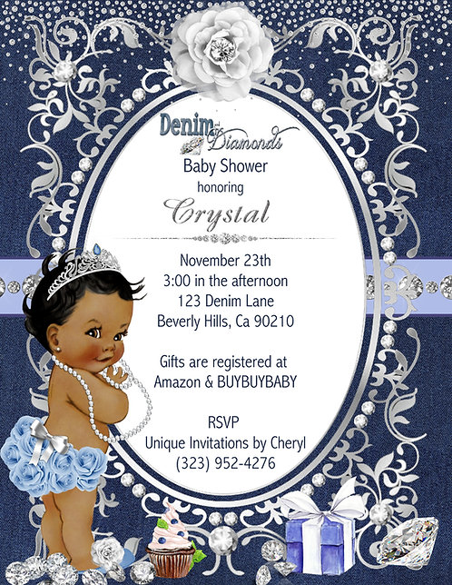 African American Denim & Diamonds Baby Shower Invitations (sold in sets of 10)