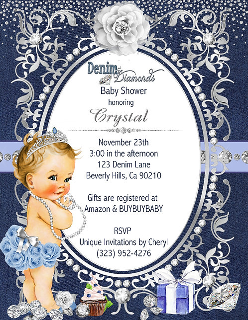 Denim & Diamonds Baby Shower Invitations (sold in sets of 10)