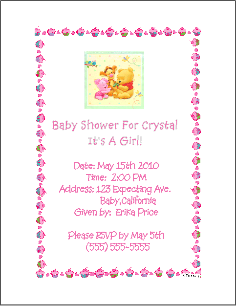 Pooh Bear Girl Baby Shower Invitations