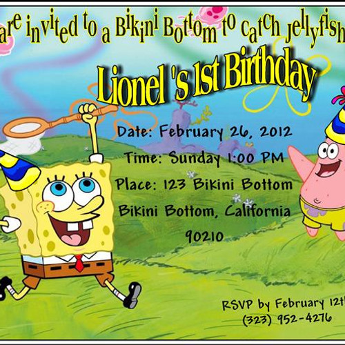 Unisex Birthday Parties EventsUnique Invitations by Cheryl – Spongebob Birthday Party Invitations