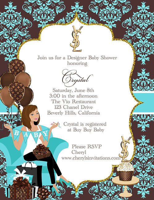Designer Baby Too Shower Invitations (sold in sets of 10)