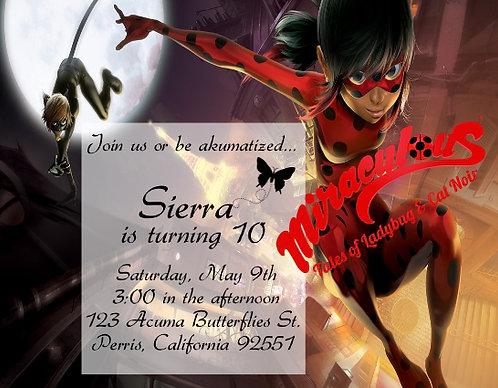 #2 Miraculous Birthday Party Invitation