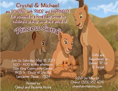 #1 Lion King Princess Baby Shower Invitation
