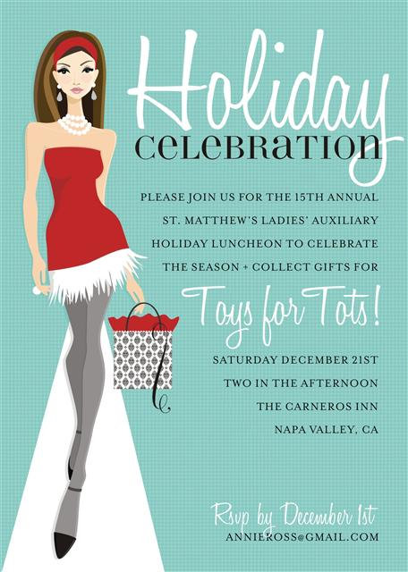 Brunette Holiday Celebration Party and  Event Invitation