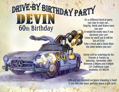 Men's Drive-By DeLorean Birthday Invitation (sold in sets of 10)