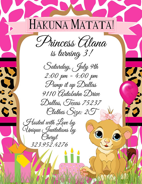 Lion King Princess Hakuna Matata Birthday Invitation (sold in sets of 10)