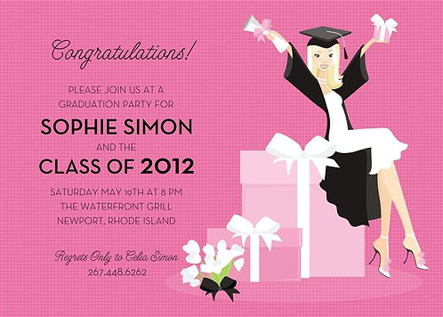 Blonde Grad Presents Party and  Event Invitation