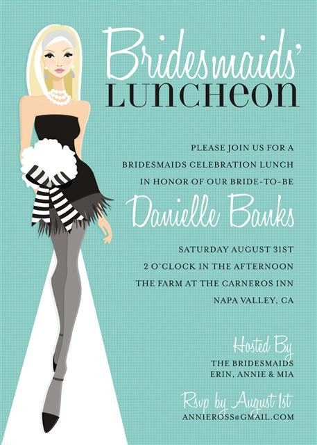 Blue Blonde Bridesmaid Luncheon Bridal Shower and  Event Invitation