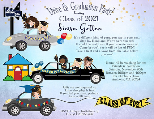 #5 Drive-By Graduation Invitation (sold in sets of 10)