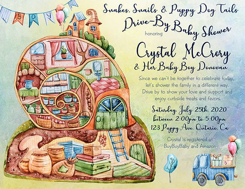 Snakes, Snails & Puppy Tails Drive-By Shower Invitations (sold in sets of 10)