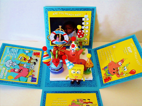 Spongebob Gang Party Custom Exploding Box Event Invitation