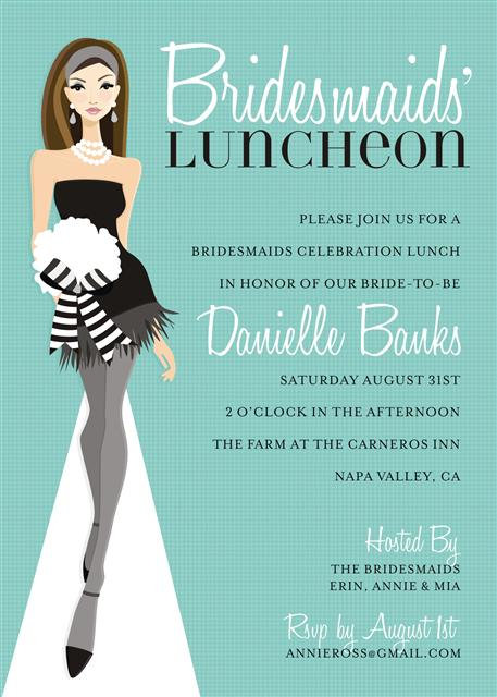 Blue Brunette Bridesmaid Luncheon Bridal Shower and  Event Invitation