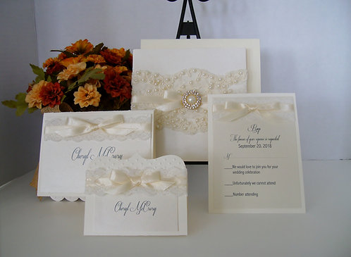 """Pearls & Lace"" Wedding & Event Invitation"