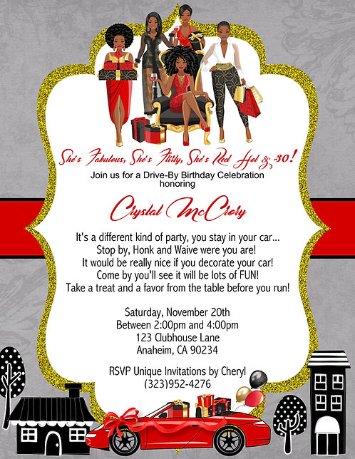 African American  Red Hot Drive-By Birthday Invitation (sold in sets of 10)