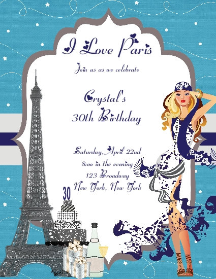 I Love Paris Coral Lace Blue Birthday Party and  Event Invitation