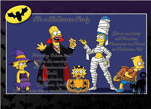 Simpson's Costume Halloween Party and  Event Invitat