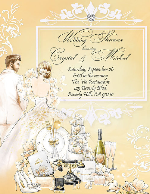 Golden Couple's Champagne Bridal Shower Invitation (sold in sets of 10)