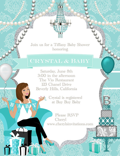 Tiffany & Baby Too Shower Invitations (sold in sets of 10)