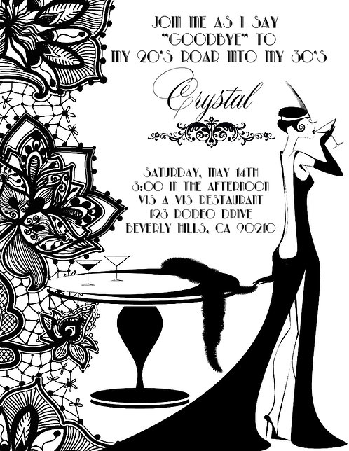 Gatsby Black Lace Birthday Party and  Event Invitation