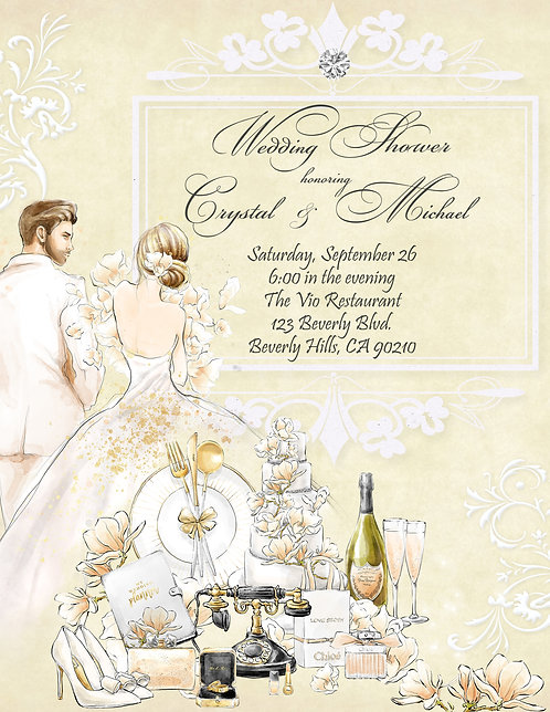 Couple's Champagne & Flowers Bridal Shower Invitation (sold in sets of 10)