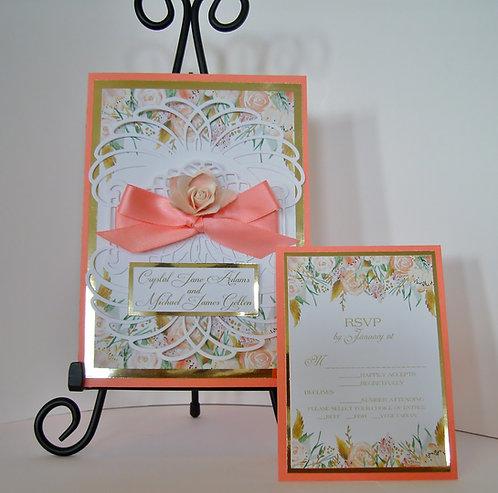 Floral Coral Vernise Lace  Wedding / Quinceañera  Invitation