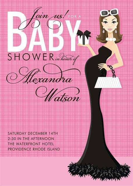 Pink Formal Brunette Baby Shower Invitations