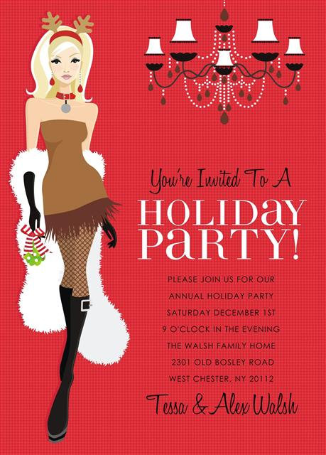 Blonde Reindeer Holiday Celebration Party and  Event Invitation