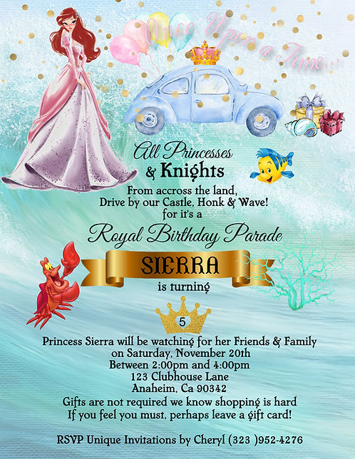 Princess Ariel's Drive-By Birthday Party Invitation (sold in sets of 10)