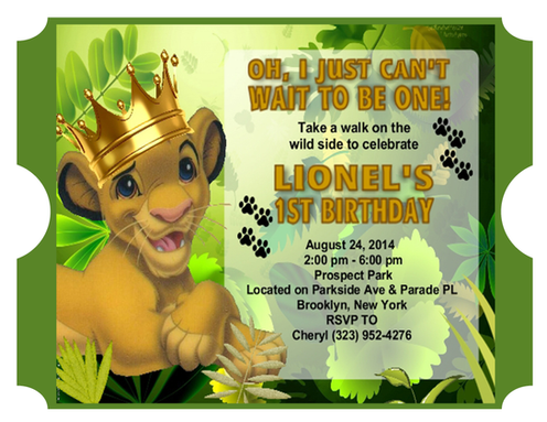 Lion King Crown Birthday Party Invitations