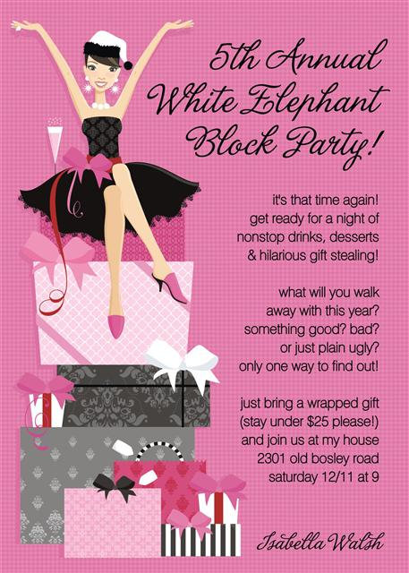Pink Present Pileup Holiday Party and  Event Invitation