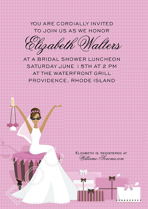 Glamour Girl African American Bridal Shower and  Event Invitation