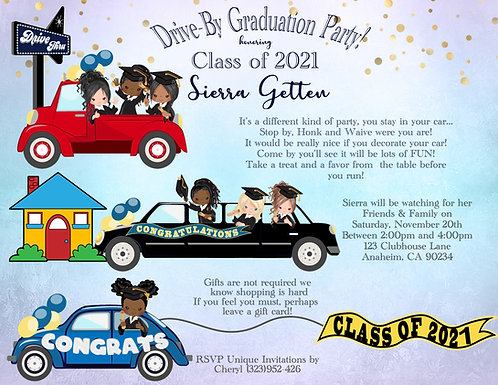 #1 Drive-By Graduation Invitation (sold in sets of 10)