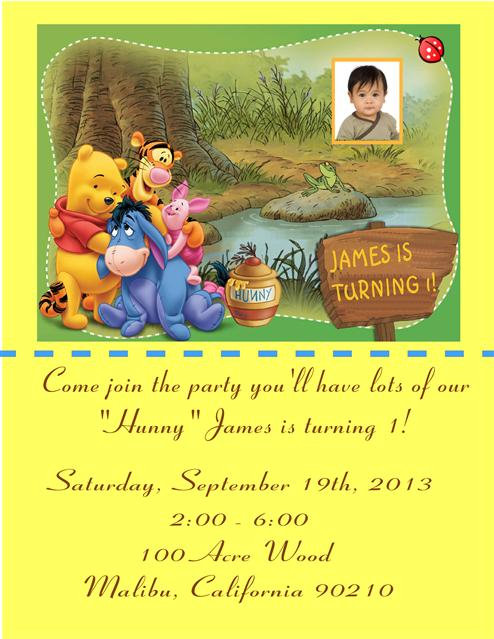 Pooh 100 Acre Wood Birthday Party Invitation