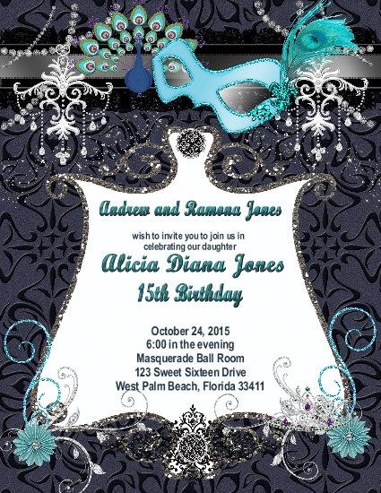 Masquerade Peacock Birthday Party and  Event Invitation