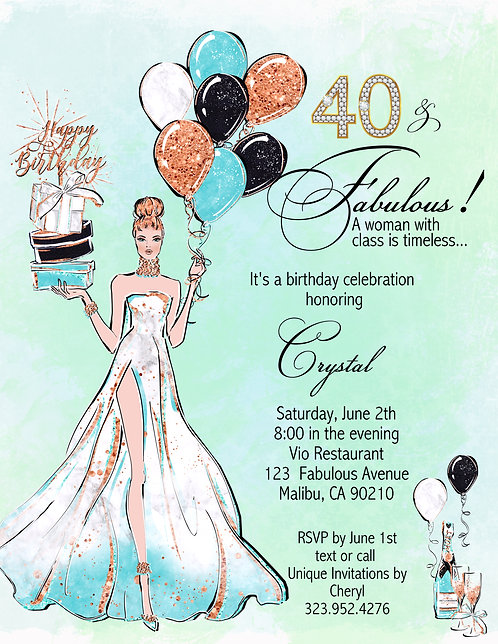 Fabulous Me Balloons Birthday Party / Event Invitation (sold in sets of 10)