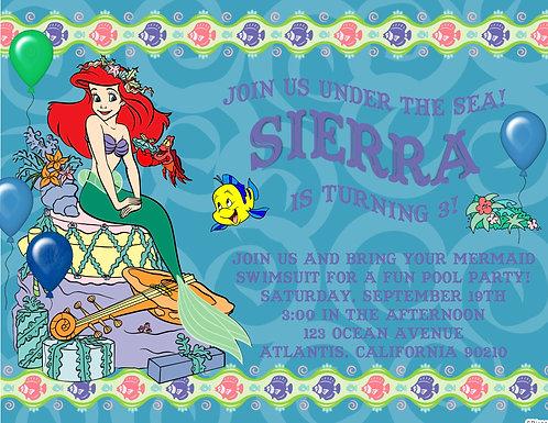 Little Mermaid Children Party Invitation