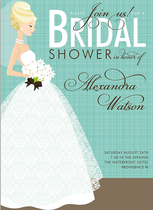Beautiful Blue Bridal Shower and  Event Invitation