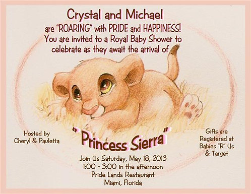 #2 Lion King Princess Baby Shower Invitations (sold in sets of 10)