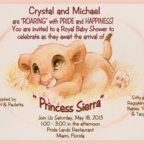 Girl baby shower invitations eventsunique invitations by cheryl 2 lion king princess baby shower invitations sold in sets of 10 filmwisefo Choice Image