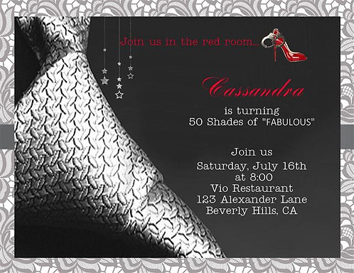 #2 50 Shades of Grey Birthday Party and  Event Invitation
