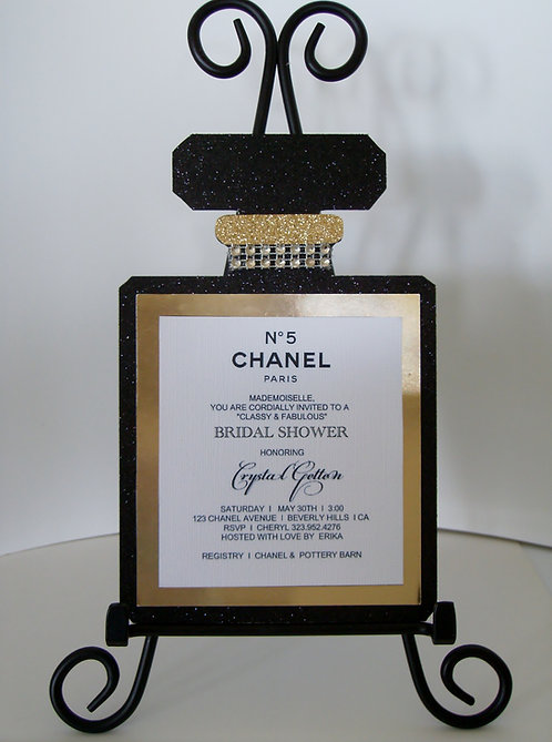 Chanel No 5 Perfume Baby Shower Invitation