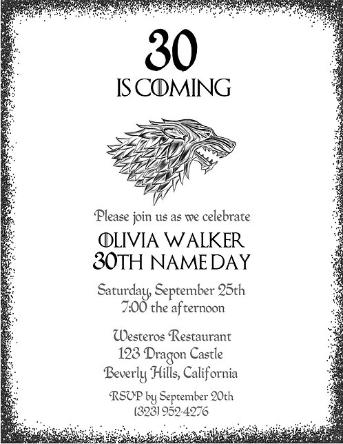 Game of Thrones Birthday Party and  Event Invitation